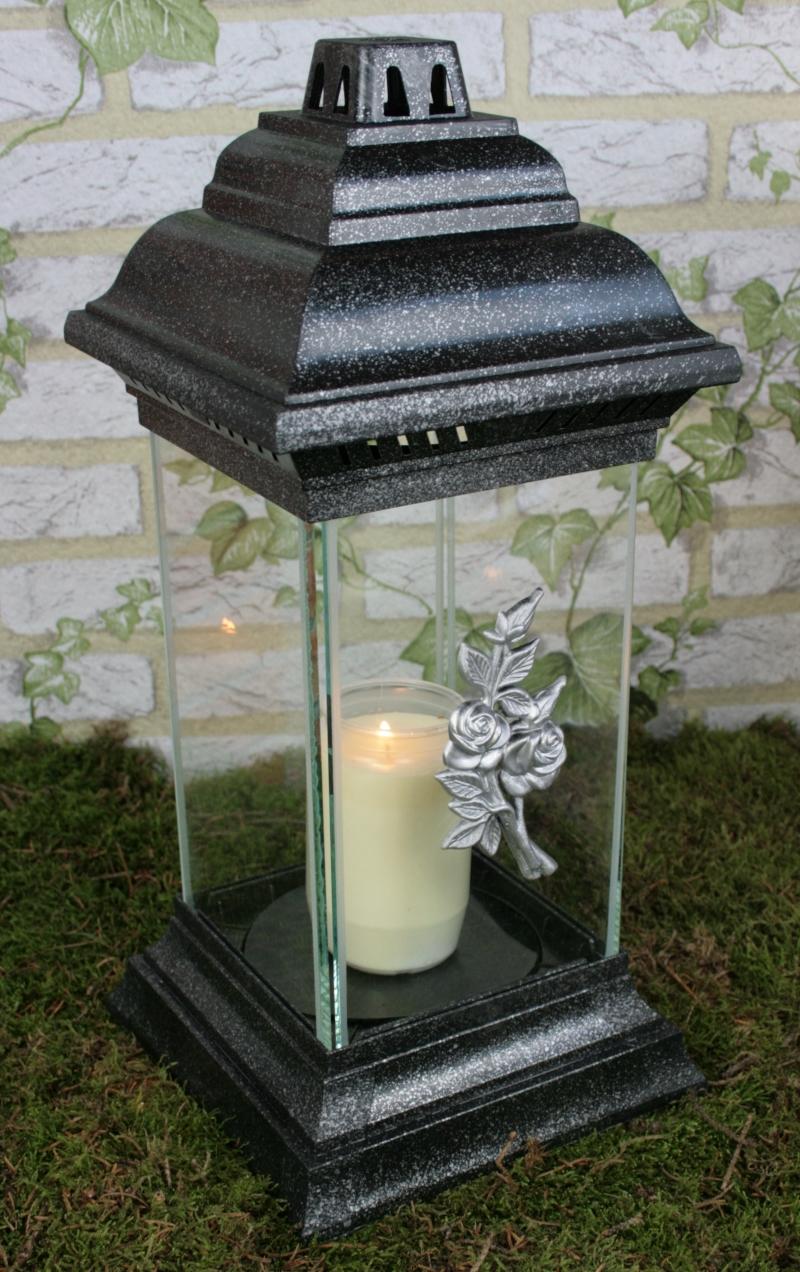grablaterne grablampe 38cm in silber grabschmuck grableuchte grablicht grabkerze ebay. Black Bedroom Furniture Sets. Home Design Ideas